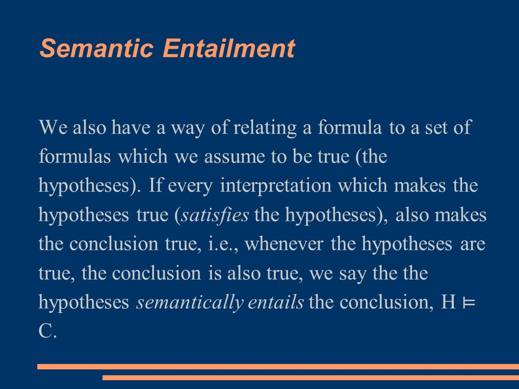 Semantic Entailment We also have a way of relating a formula to a set of formulas which we assume to be true (the hypotheses).