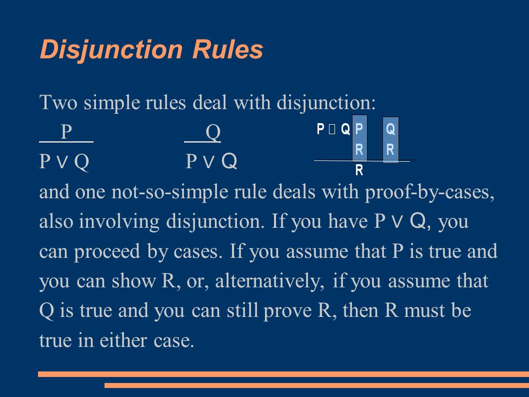 Disjunction Rules Two simple rules deal with disjunction: P Q P ∨ Q and one not-so-simple rule deals with proof-by-cases, also involving disjunction.