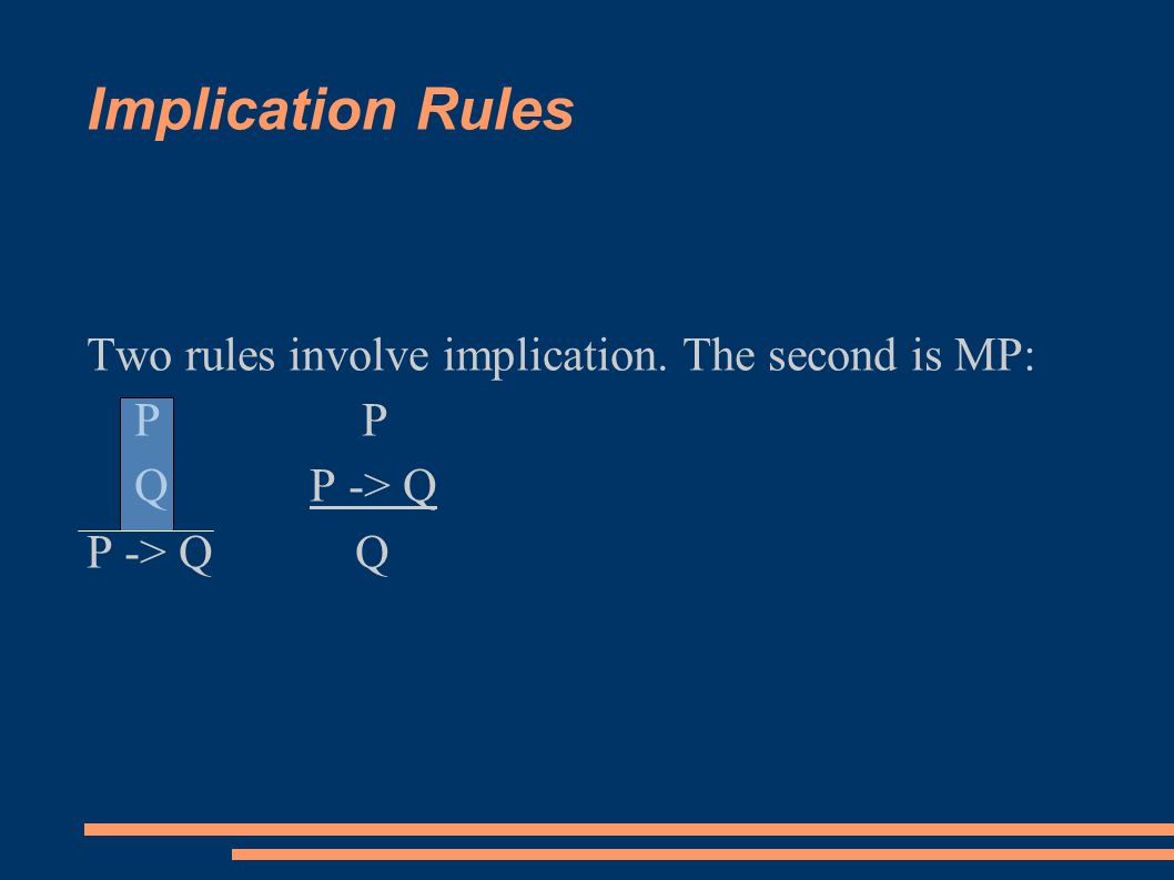 Implication Rules Two rules involve implication. The second is MP: P P Q P -> Q P -> Q Q