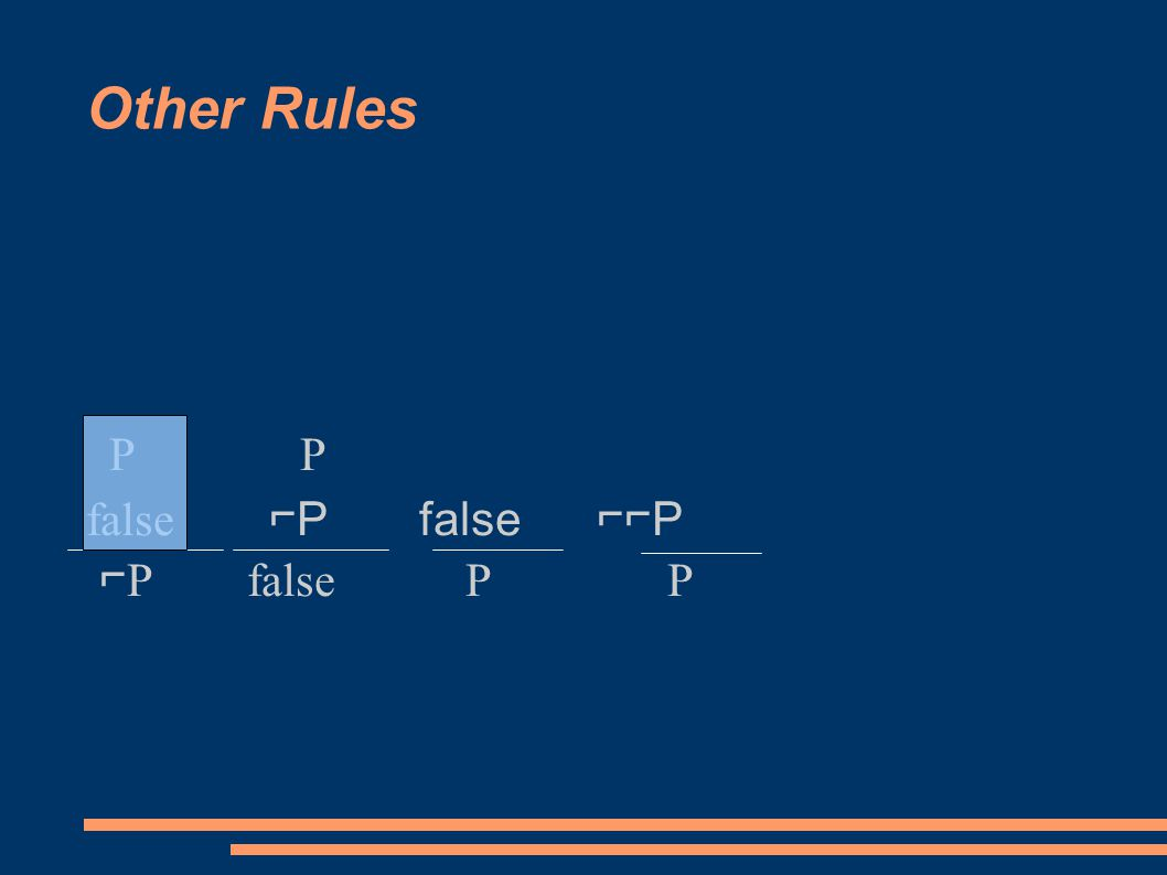 Other Rules P P false ⌐P false ⌐⌐P ⌐ P false P P