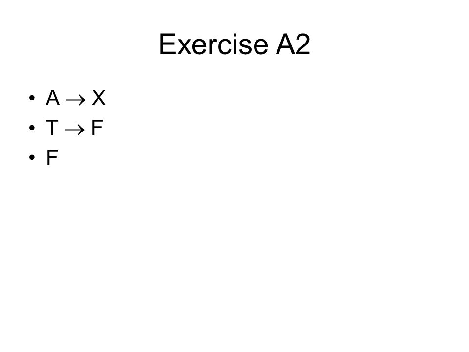 Exercise A9 A  (B  Z) T  (T  F) T  (F) F