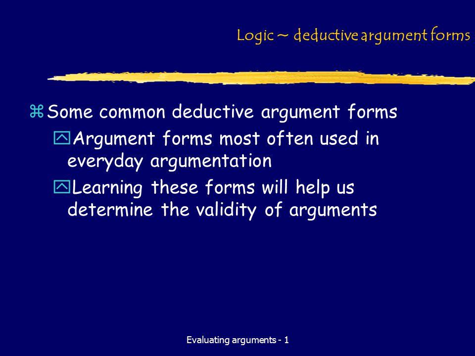 Evaluating arguments - 1 Logic ~ deductive argument forms zSome common deductive argument forms yArgument forms most often used in everyday argumentat