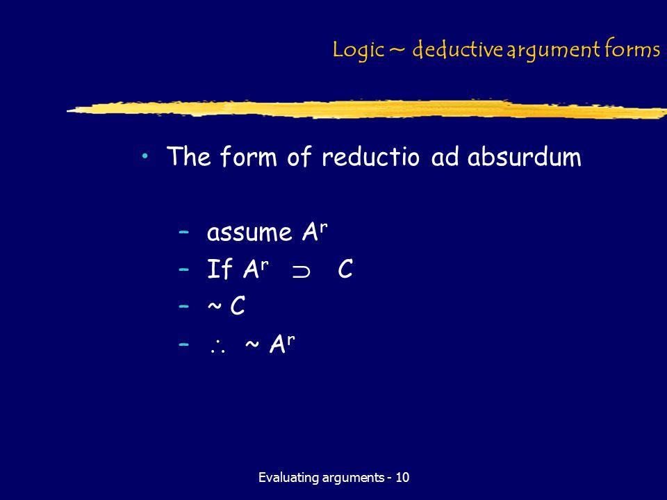Evaluating arguments - 10 Logic ~ deductive argument forms The form of reductio ad absurdum –assume A r –If A r  C –~ C –  ~ A r