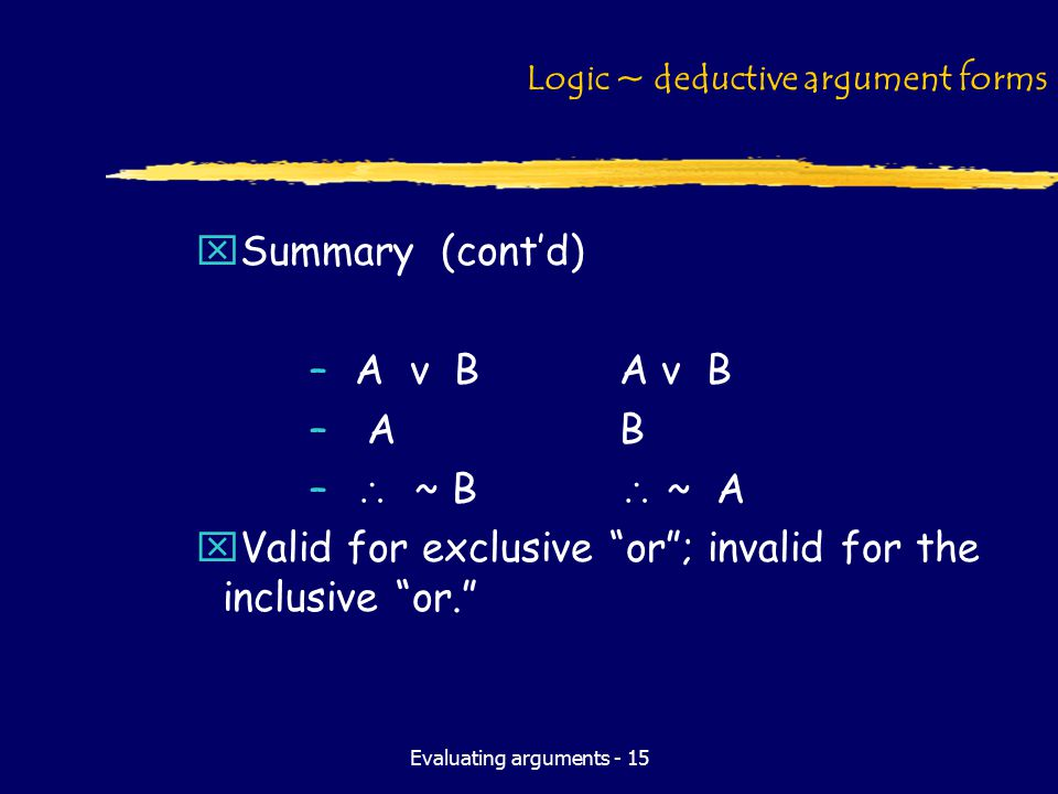 Evaluating arguments - 15 Logic ~ deductive argument forms xSummary (cont'd) –A v BA v B – AB –  ~ B  ~ A xValid for exclusive or ; invalid for the inclusive or.