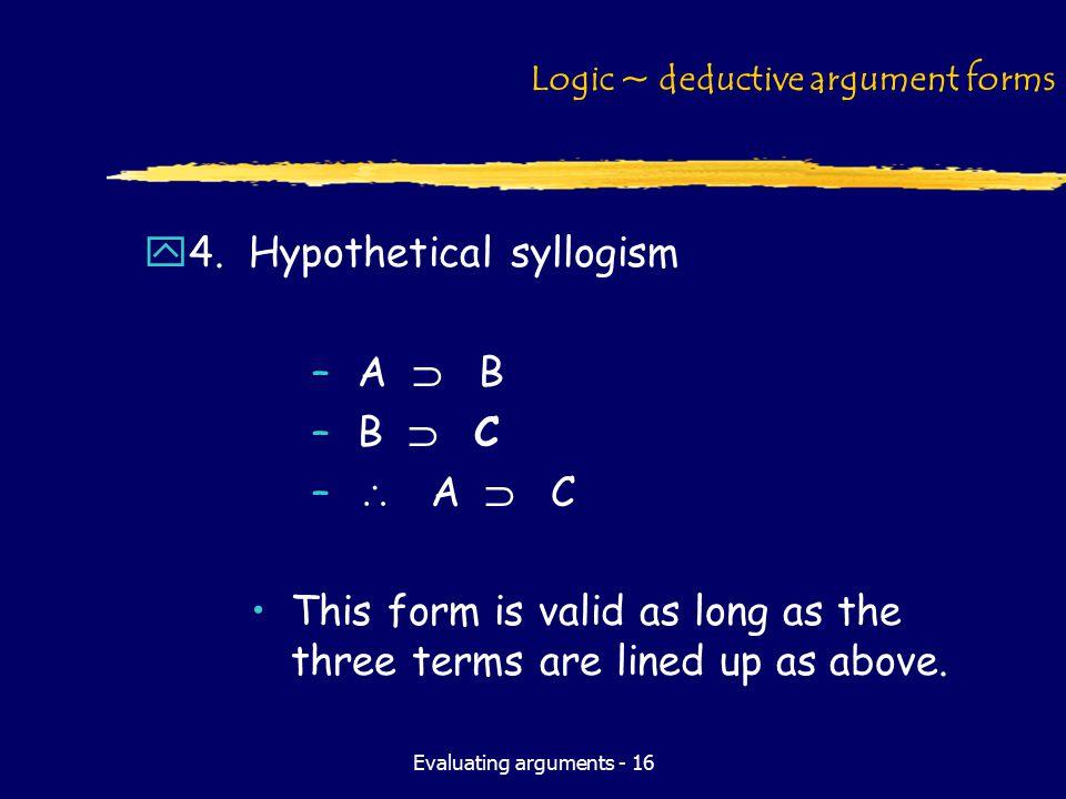 Evaluating arguments - 16 Logic ~ deductive argument forms y4.