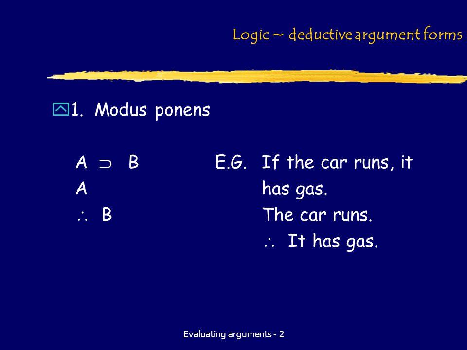 Evaluating arguments - 2 Logic ~ deductive argument forms y1. Modus ponens A  BE.G. If the car runs, it Ahas gas.  BThe car runs.  It has gas.