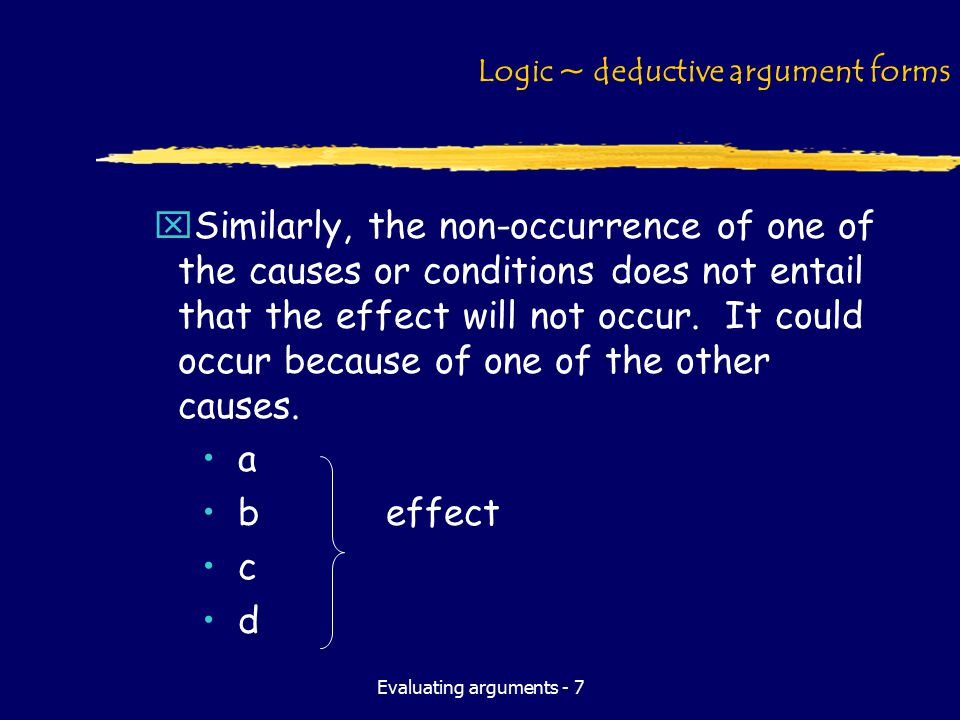 Evaluating arguments - 7 Logic ~ deductive argument forms xSimilarly, the non-occurrence of one of the causes or conditions does not entail that the e