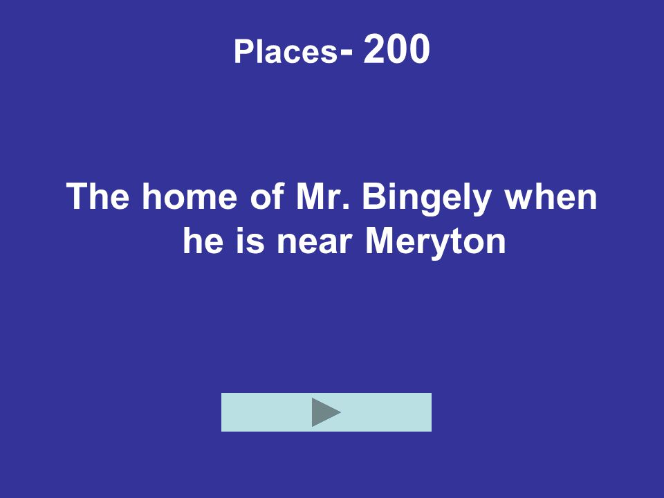 Places - 200 The home of Mr. Bingely when he is near Meryton