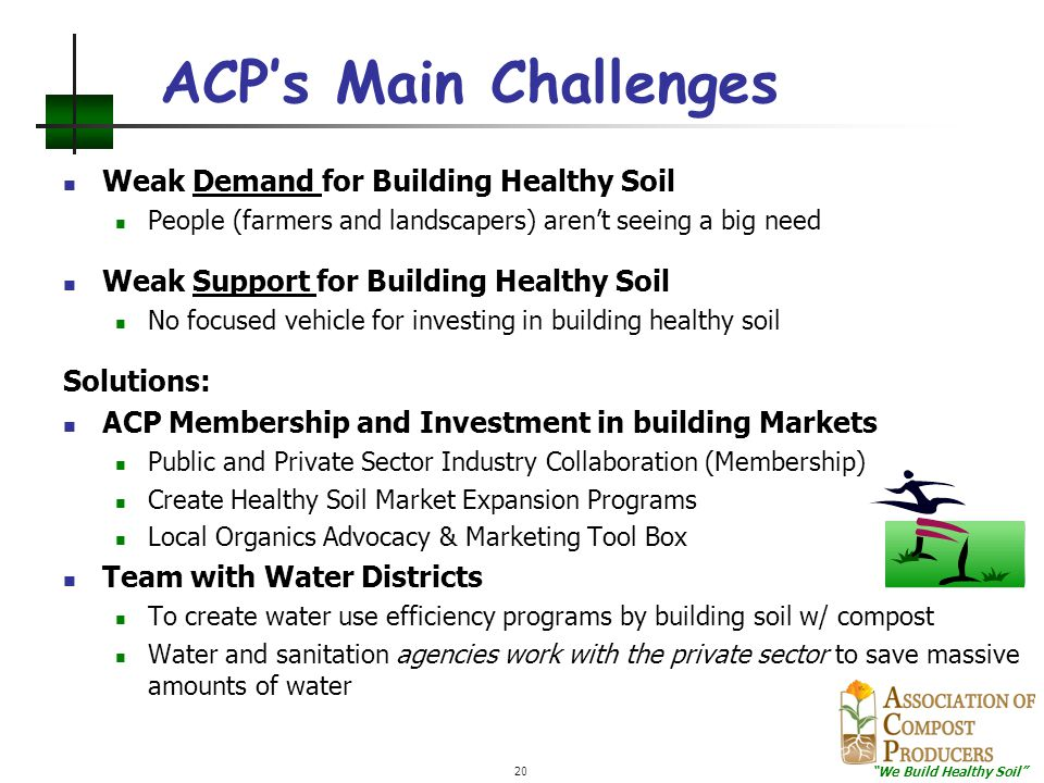 """""""We Build Healthy Soil"""" 20 ACP's Main Challenges Weak Demand for Building Healthy Soil People (farmers and landscapers) aren't seeing a big need Weak"""
