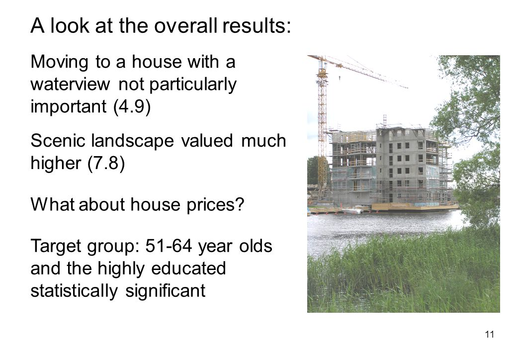 11 A look at the overall results: Moving to a house with a waterview not particularly important (4.9) Scenic landscape valued much higher (7.8) What about house prices.