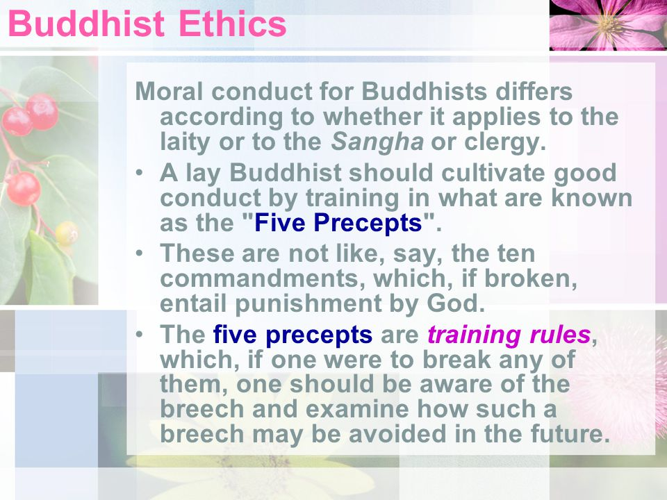 Buddhist Ethics Moral conduct for Buddhists differs according to whether it applies to the laity or to the Sangha or clergy.