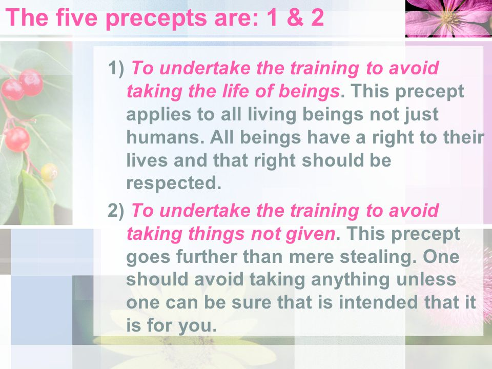 The five precepts are: 1 & 2 1) To undertake the training to avoid taking the life of beings. This precept applies to all living beings not just human