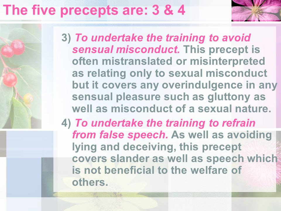 The five precepts are: 3 & 4 3) To undertake the training to avoid sensual misconduct. This precept is often mistranslated or misinterpreted as relati