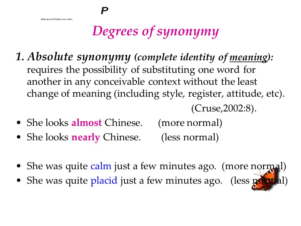 Degrees of synonymy 1.