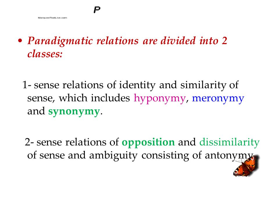 Paradigmatic relations are divided into 2 classes: 1- sense relations of identity and similarity of sense, which includes hyponymy, meronymy and synonymy.