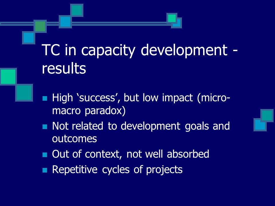 TC in capacity development - results High 'success', but low impact (micro- macro paradox) Not related to development goals and outcomes Out of context, not well absorbed Repetitive cycles of projects