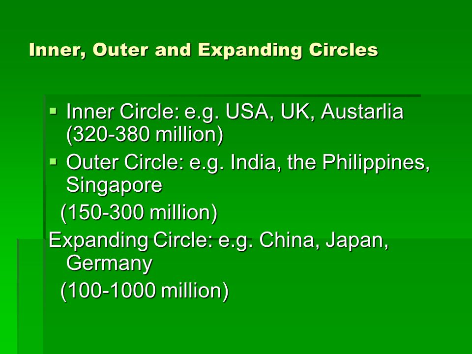 Inner, Outer and Expanding Circles  Inner Circle: e.g. USA, UK, Austarlia (320-380 million)  Outer Circle: e.g. India, the Philippines, Singapore (1