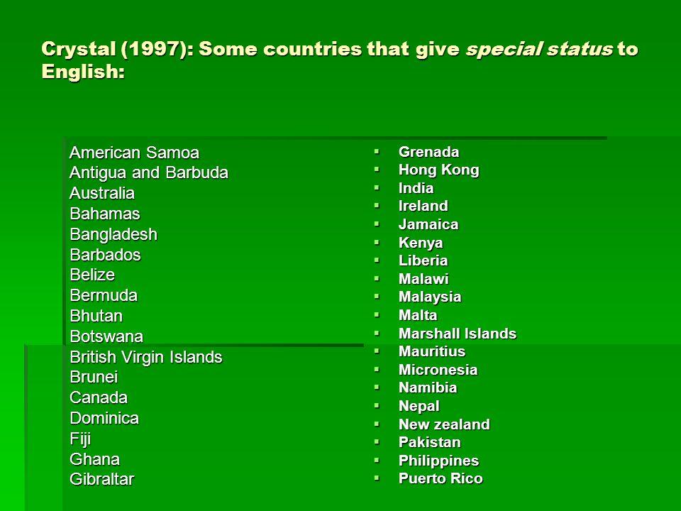 Crystal (1997): Some countries that give special status to English: American Samoa Antigua and Barbuda Australia Bahamas Bangladesh Barbados Belize Be