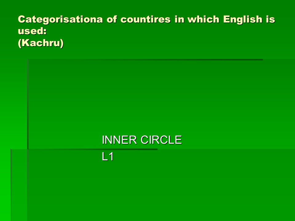 Categorisationa of countires in which English is used: (Kachru) INNER CIRCLE L1