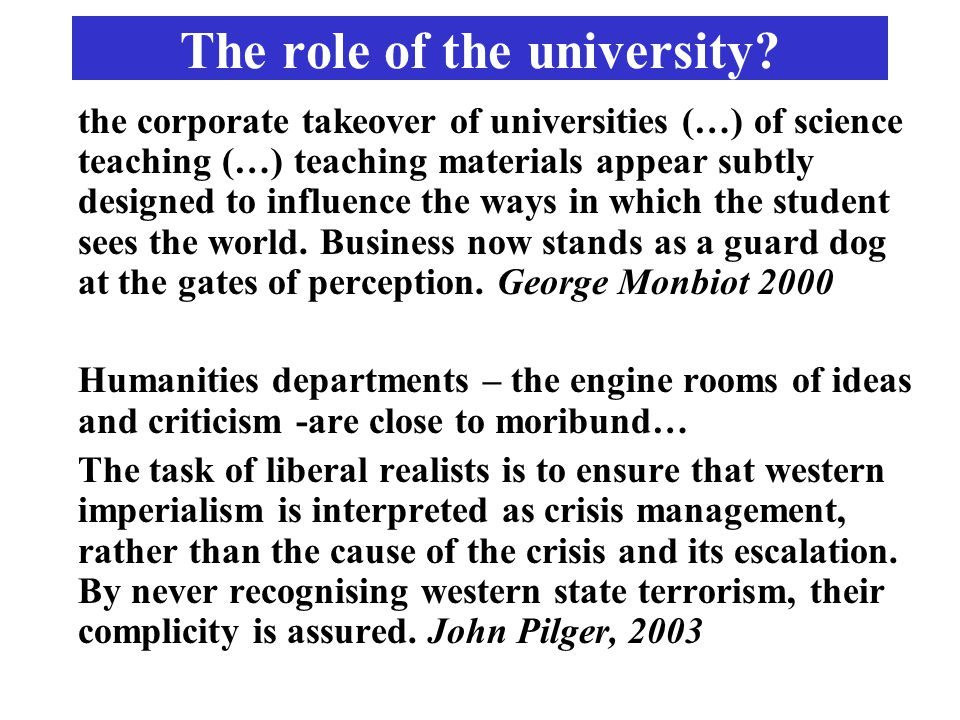 The role of the university.
