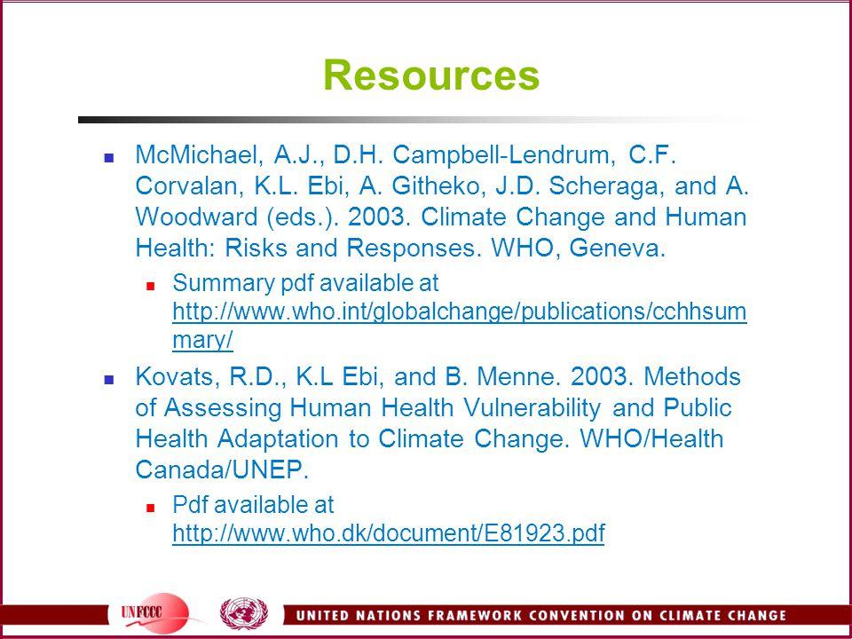 Resources McMichael, A.J., D.H. Campbell-Lendrum, C.F.