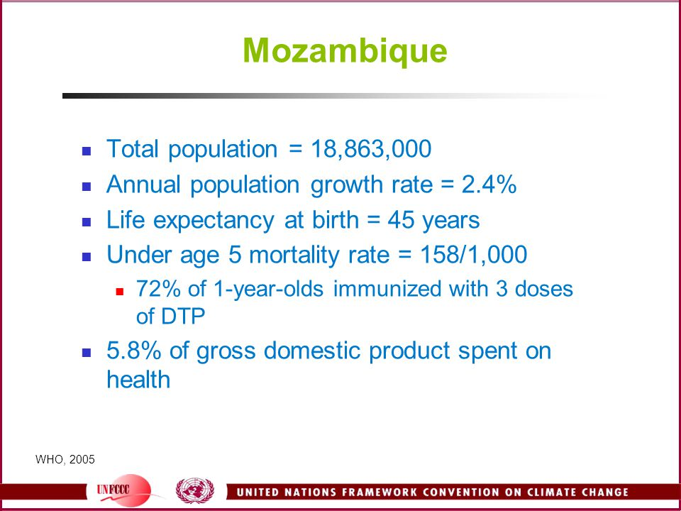 Mozambique Total population = 18,863,000 Annual population growth rate = 2.4% Life expectancy at birth = 45 years Under age 5 mortality rate = 158/1,000 72% of 1-year-olds immunized with 3 doses of DTP 5.8% of gross domestic product spent on health WHO, 2005