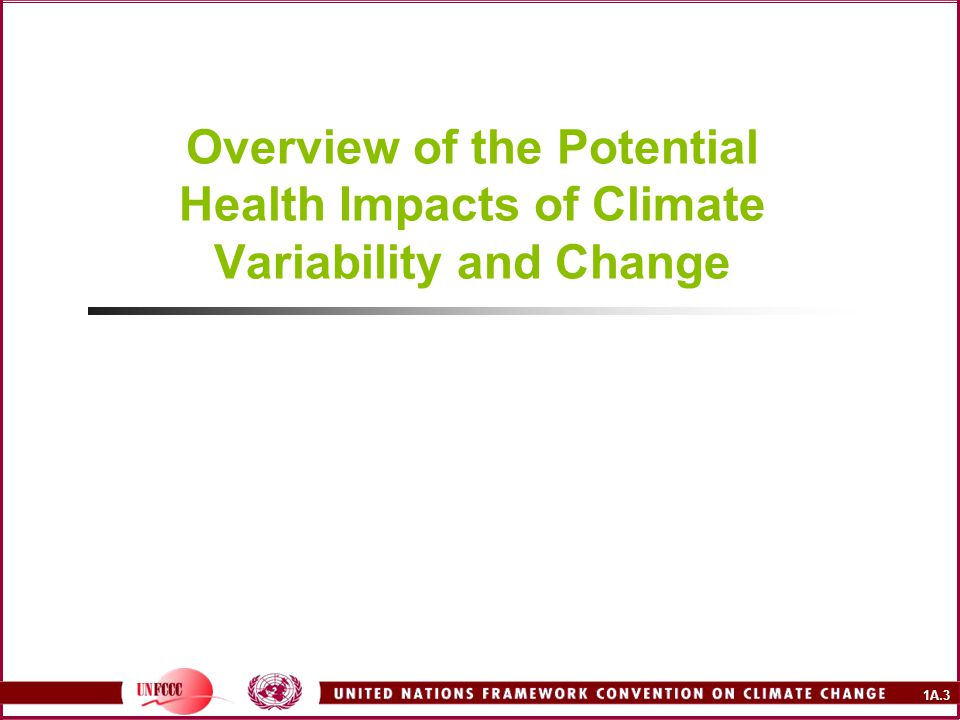 1A.3 Overview of the Potential Health Impacts of Climate Variability and Change