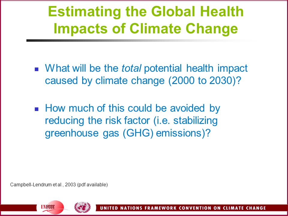Estimating the Global Health Impacts of Climate Change What will be the total potential health impact caused by climate change (2000 to 2030).