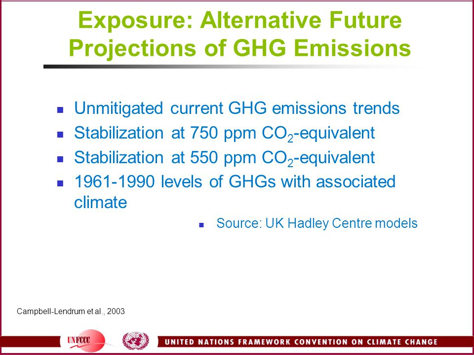 Exposure: Alternative Future Projections of GHG Emissions Unmitigated current GHG emissions trends Stabilization at 750 ppm CO 2 -equivalent Stabilization at 550 ppm CO 2 -equivalent 1961-1990 levels of GHGs with associated climate Source: UK Hadley Centre models Campbell-Lendrum et al., 2003