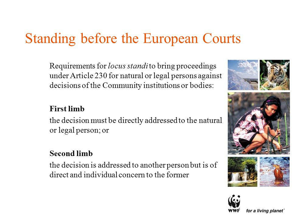 Standing before the European Courts Requirements for locus standi to bring proceedings under Article 230 for natural or legal persons against decisions of the Community institutions or bodies: First limb the decision must be directly addressed to the natural or legal person; or Second limb the decision is addressed to another person but is of direct and individual concern to the former