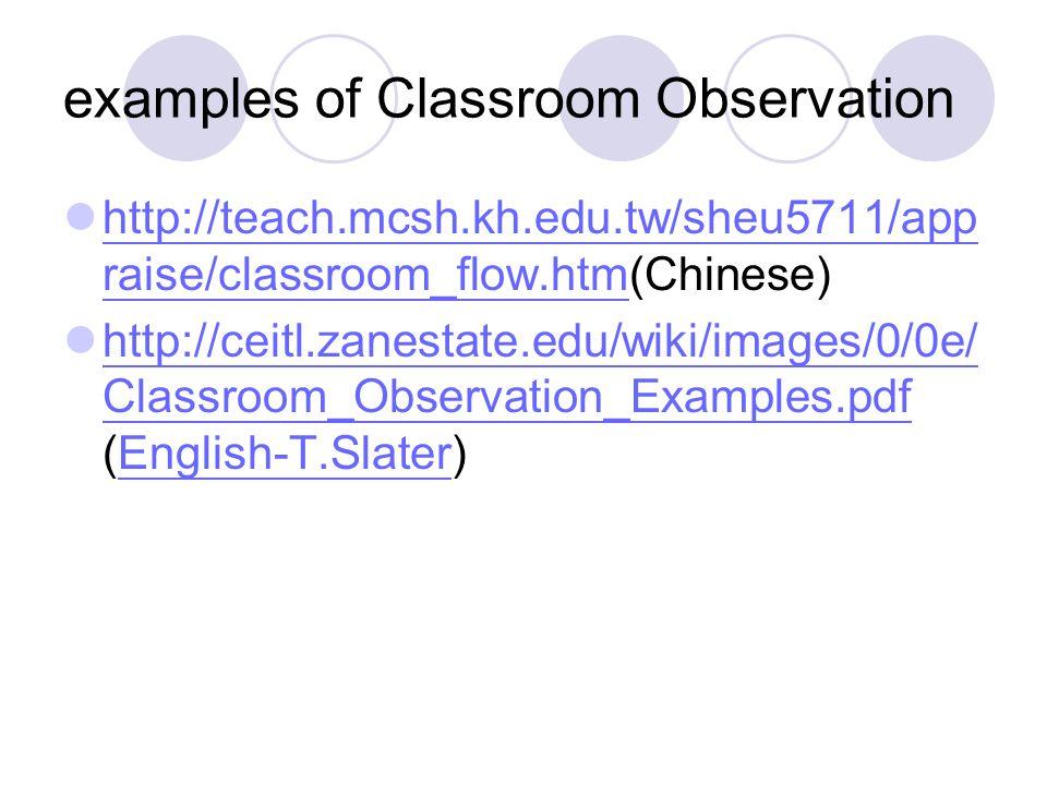 examples of Classroom Observation http://teach.mcsh.kh.edu.tw/sheu5711/app raise/classroom_flow.htm(Chinese) http://teach.mcsh.kh.edu.tw/sheu5711/app raise/classroom_flow.htm http://ceitl.zanestate.edu/wiki/images/0/0e/ Classroom_Observation_Examples.pdf (English-T.Slater) http://ceitl.zanestate.edu/wiki/images/0/0e/ Classroom_Observation_Examples.pdfEnglish-T.Slater