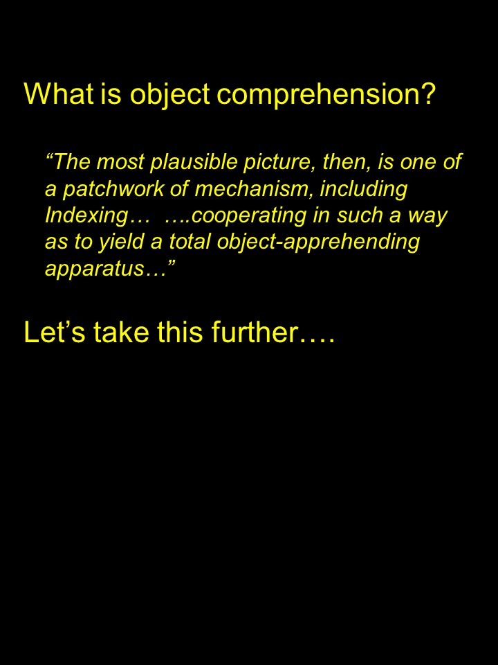 What is object comprehension.