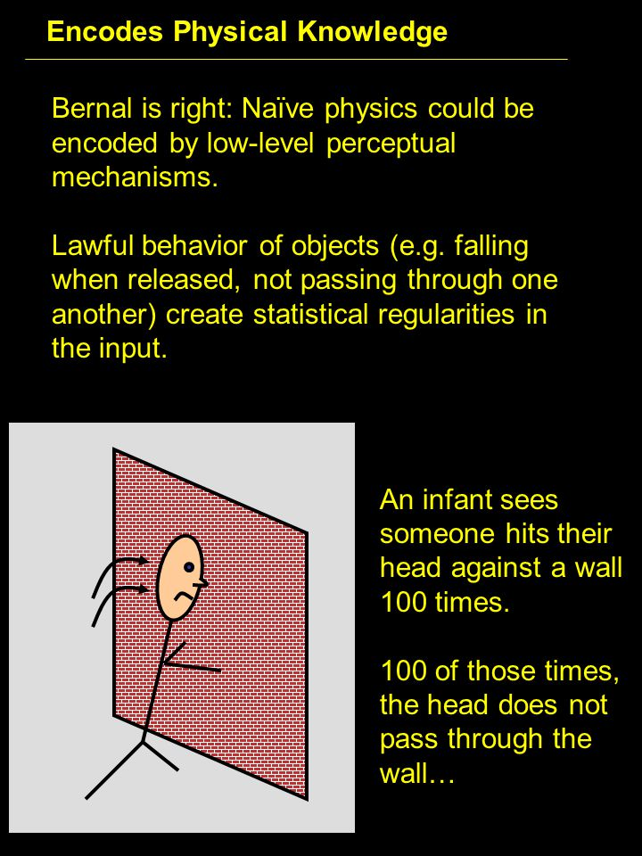 Bernal is right: Naïve physics could be encoded by low-level perceptual mechanisms.
