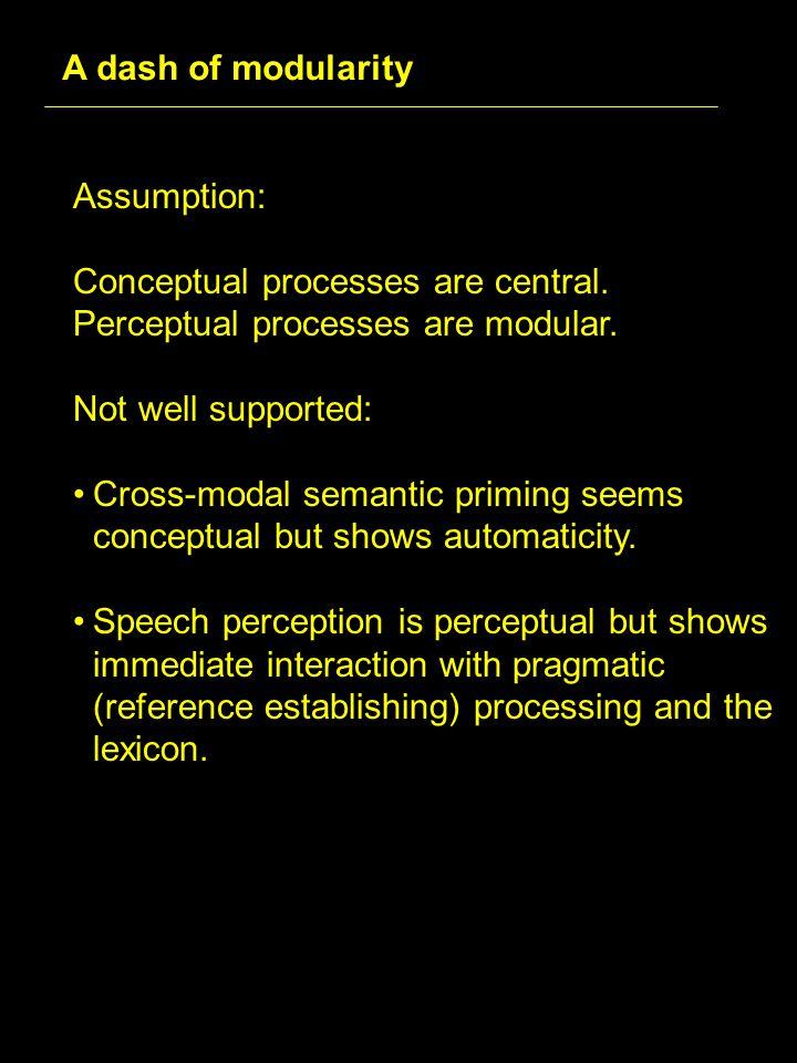 Assumption: Conceptual processes are central. Perceptual processes are modular.