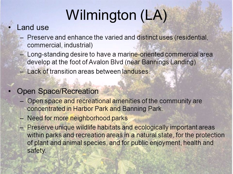 Wilmington (LA) Land use –Preserve and enhance the varied and distinct uses (residential, commercial, industrial) –Long-standing desire to have a marine-oriented commercial area develop at the foot of Avalon Blvd (near Bannings Landing) –Lack of transition areas between landuses.