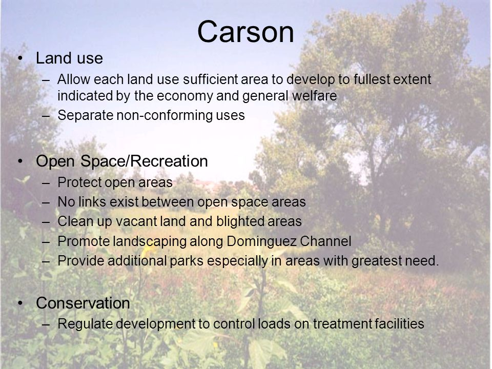 Carson Land use –Allow each land use sufficient area to develop to fullest extent indicated by the economy and general welfare –Separate non-conformin
