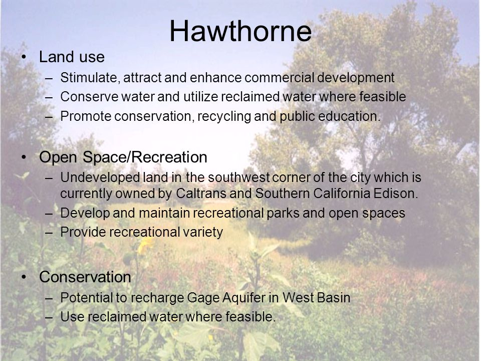 Hawthorne Land use –Stimulate, attract and enhance commercial development –Conserve water and utilize reclaimed water where feasible –Promote conserva