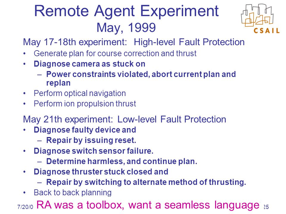 Approved for Public Release, Distribution Unlimited 7/20/0425 Remote Agent Experiment May, 1999 May 17-18th experiment: High-level Fault Protection Ge