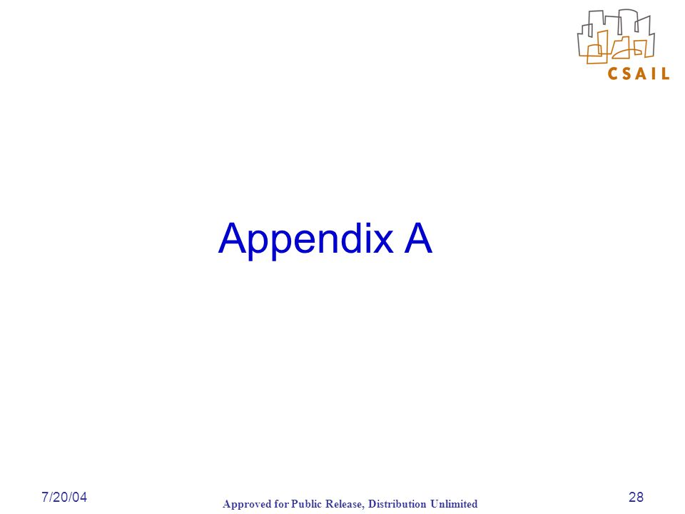 Approved for Public Release, Distribution Unlimited 7/20/0428 Appendix A