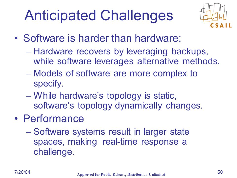 Approved for Public Release, Distribution Unlimited 7/20/0450 Anticipated Challenges Software is harder than hardware: –Hardware recovers by leveraging backups, while software leverages alternative methods.