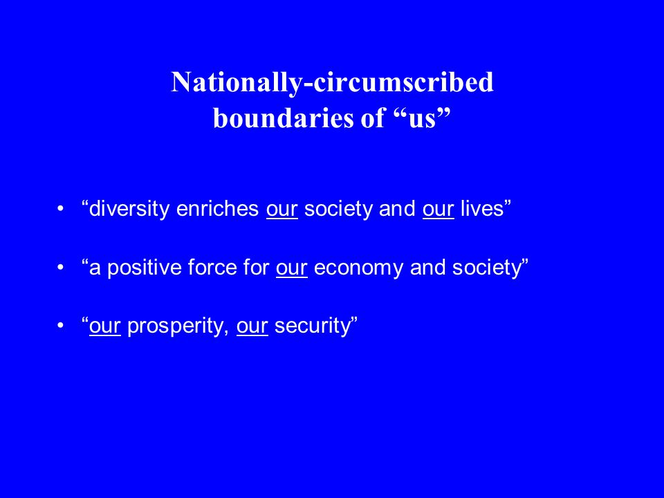 Nationally-circumscribed boundaries of us diversity enriches our society and our lives a positive force for our economy and society our prosperity, our security