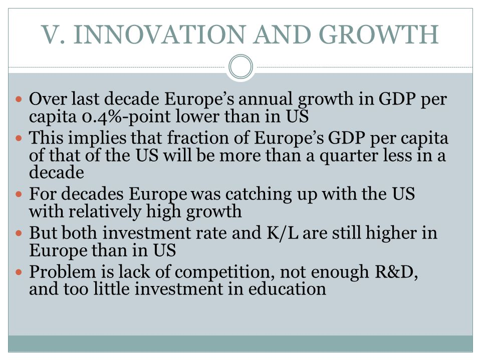 V. INNOVATION AND GROWTH Over last decade Europe's annual growth in GDP per capita 0.4%-point lower than in US This implies that fraction of Europe's