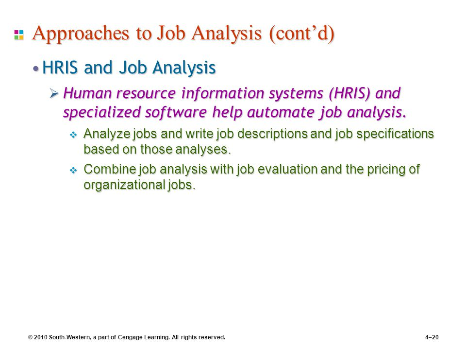 © 2010 South-Western, a part of Cengage Learning. All rights reserved.4–20 Approaches to Job Analysis (cont'd) HRIS and Job AnalysisHRIS and Job Analy