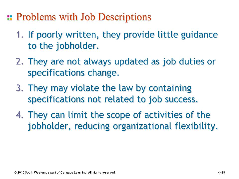 © 2010 South-Western, a part of Cengage Learning. All rights reserved.4–29 Problems with Job Descriptions 1.If poorly written, they provide little gui
