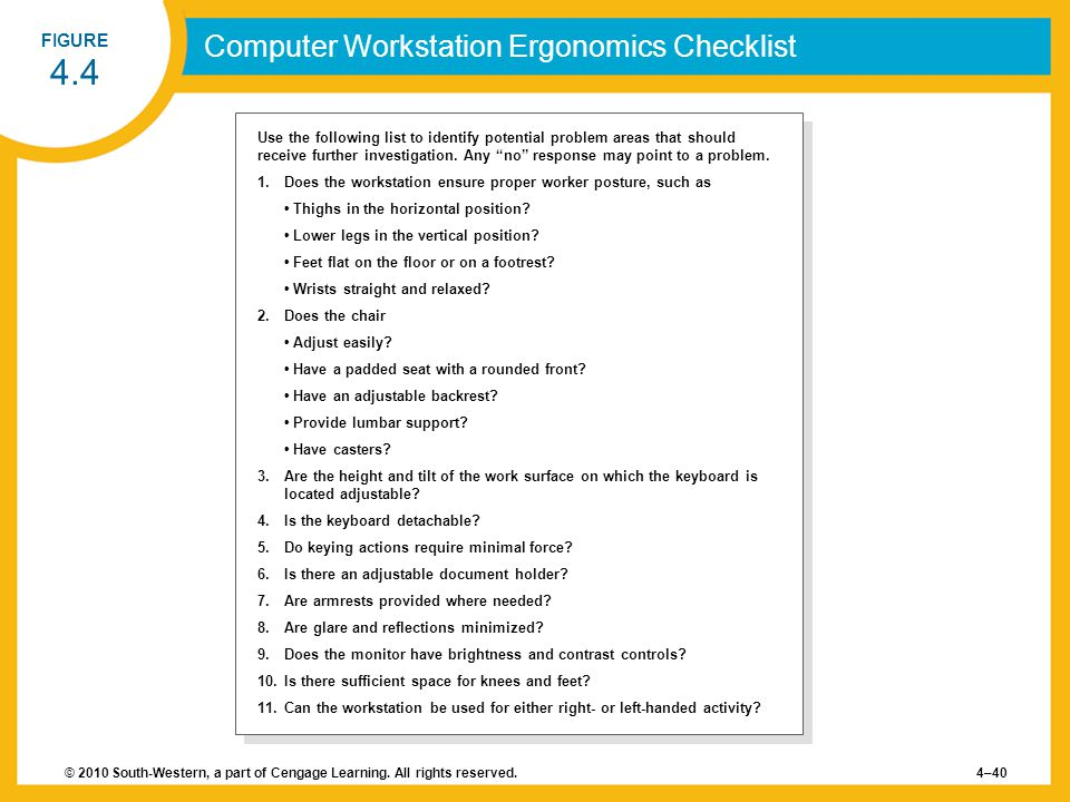 © 2010 South-Western, a part of Cengage Learning. All rights reserved.4–40 FIGURE 4.4 Computer Workstation Ergonomics Checklist Use the following list