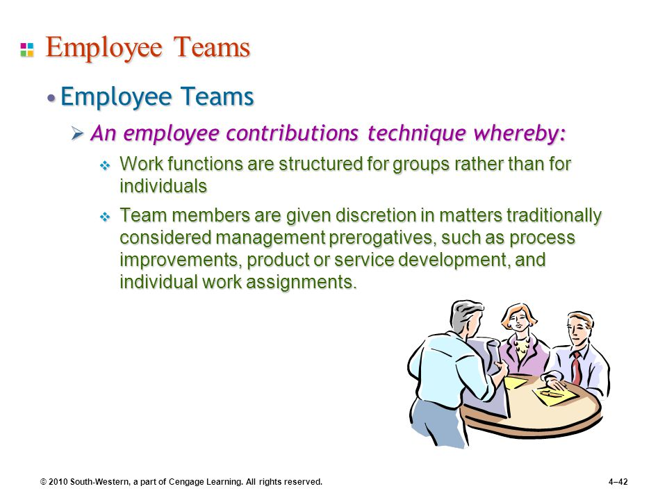 © 2010 South-Western, a part of Cengage Learning. All rights reserved.4–42 Employee Teams Employee TeamsEmployee Teams  An employee contributions tec