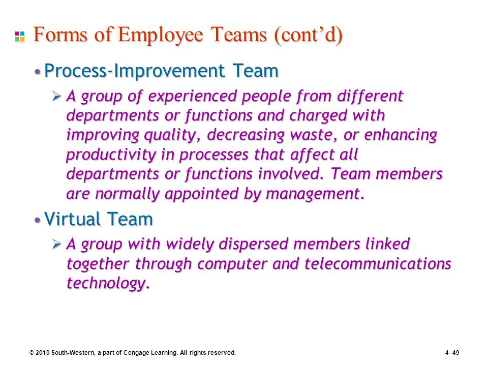 © 2010 South-Western, a part of Cengage Learning. All rights reserved.4–49 Forms of Employee Teams (cont'd) Process-Improvement TeamProcess-Improvemen