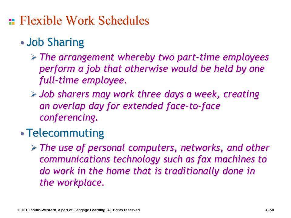 © 2010 South-Western, a part of Cengage Learning. All rights reserved.4–58 Flexible Work Schedules Job SharingJob Sharing  The arrangement whereby tw