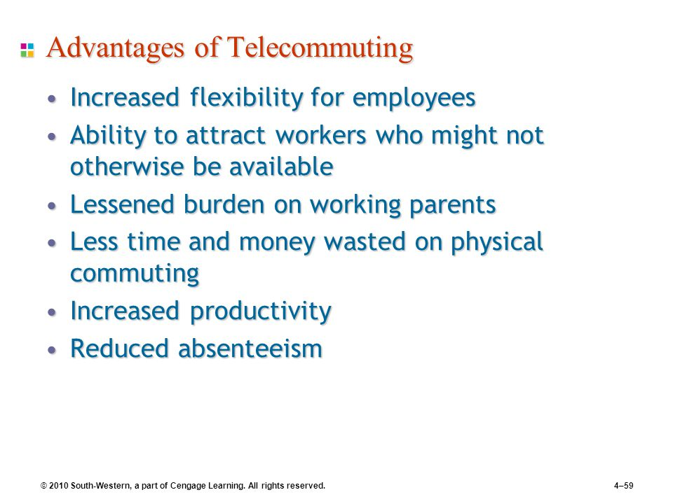 © 2010 South-Western, a part of Cengage Learning. All rights reserved.4–59 Advantages of Telecommuting Increased flexibility for employeesIncreased fl