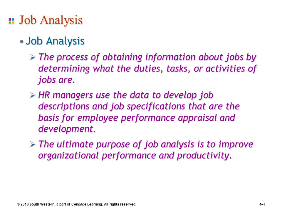 © 2010 South-Western, a part of Cengage Learning. All rights reserved.4–7 Job Analysis Job AnalysisJob Analysis  The process of obtaining information